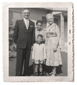 Lloyd and younger brother Larry, with grandparents Benjamin and Sara Finegold