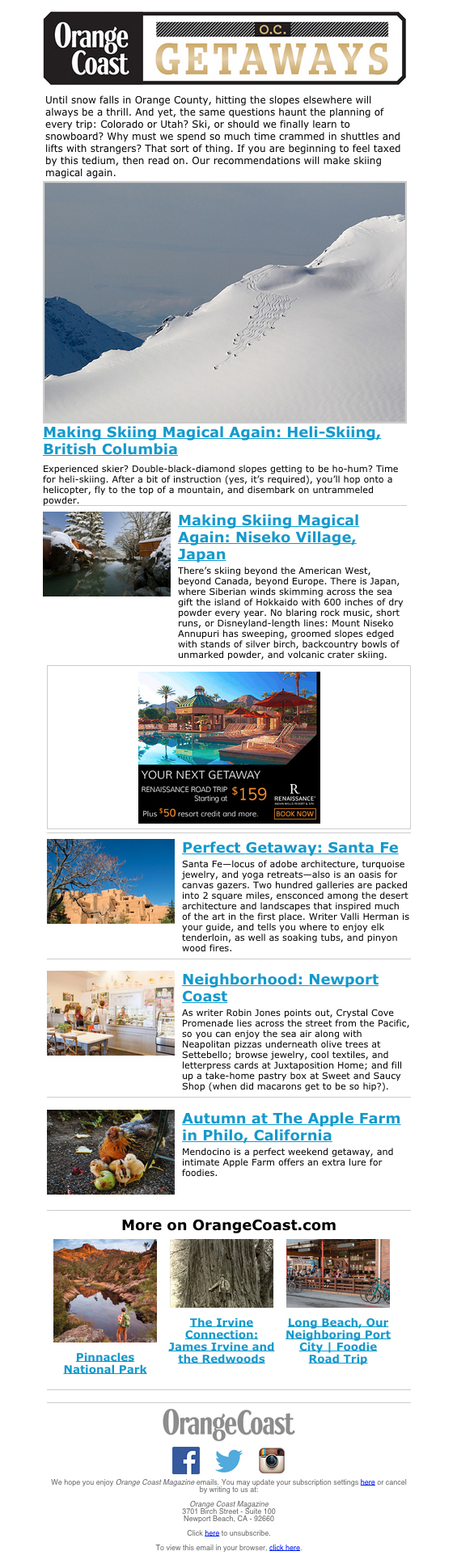 O.C. Getaways newsletter