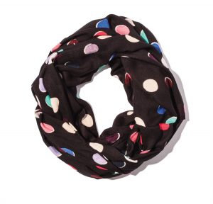 KATE SPADE'S Scatter Dot infinity scarf is a playful way to add color to your look. $98, KATE SPADE, NEWPORT BEACH, 949-219-0785, KATESPADE.COM