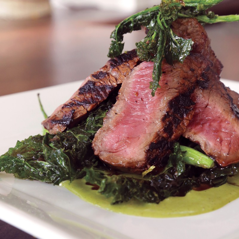 Come for the marinated grass-fed rib-eye with broccoli rabe.