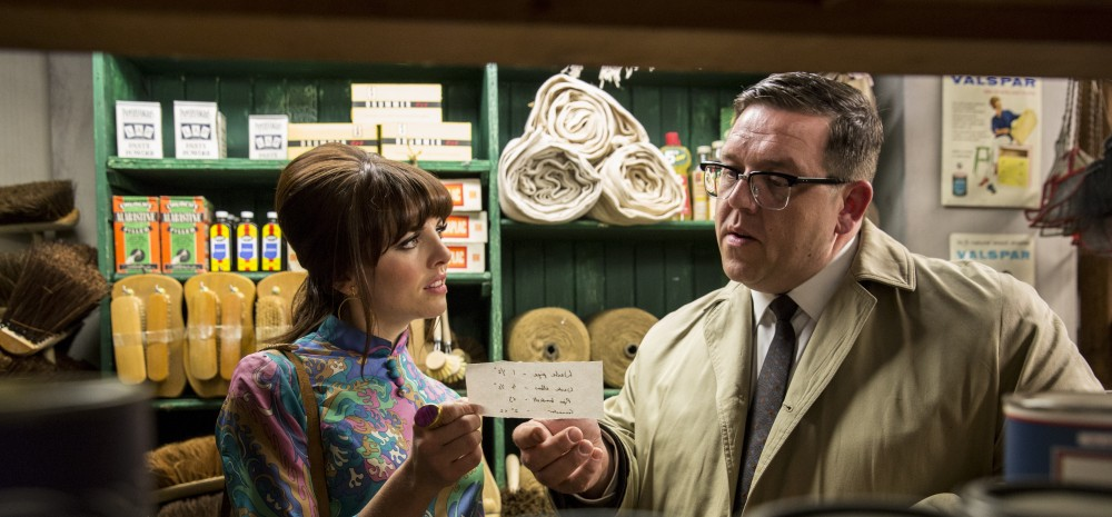 "Robin (Ophelia Lovibond) and Jeremy Sloane (Nick Frost) in an episode of ""Mr. Sloane"""