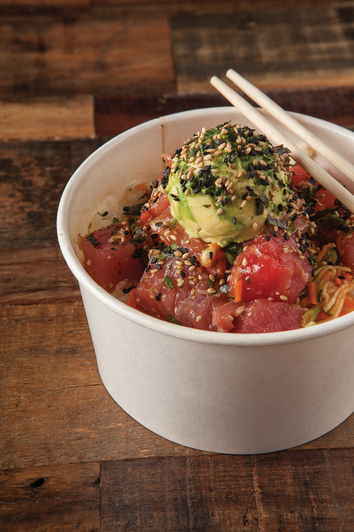 Mar's ahi poke bowl with carrot-zucchini noodles.