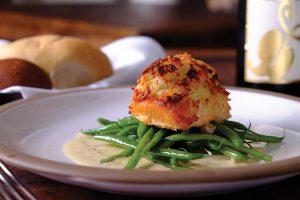 _Potato Horseradish Crusted Salmon, mustard cream sauce, sautéed haricot verts