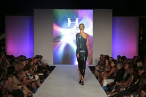 A model in Halston walks the runway at Style Week OC 2014, Fashion Island