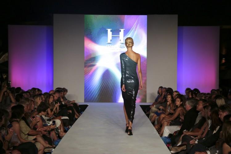 A model in Halston walks the runway at Style Week OC 2014, Fashion Island