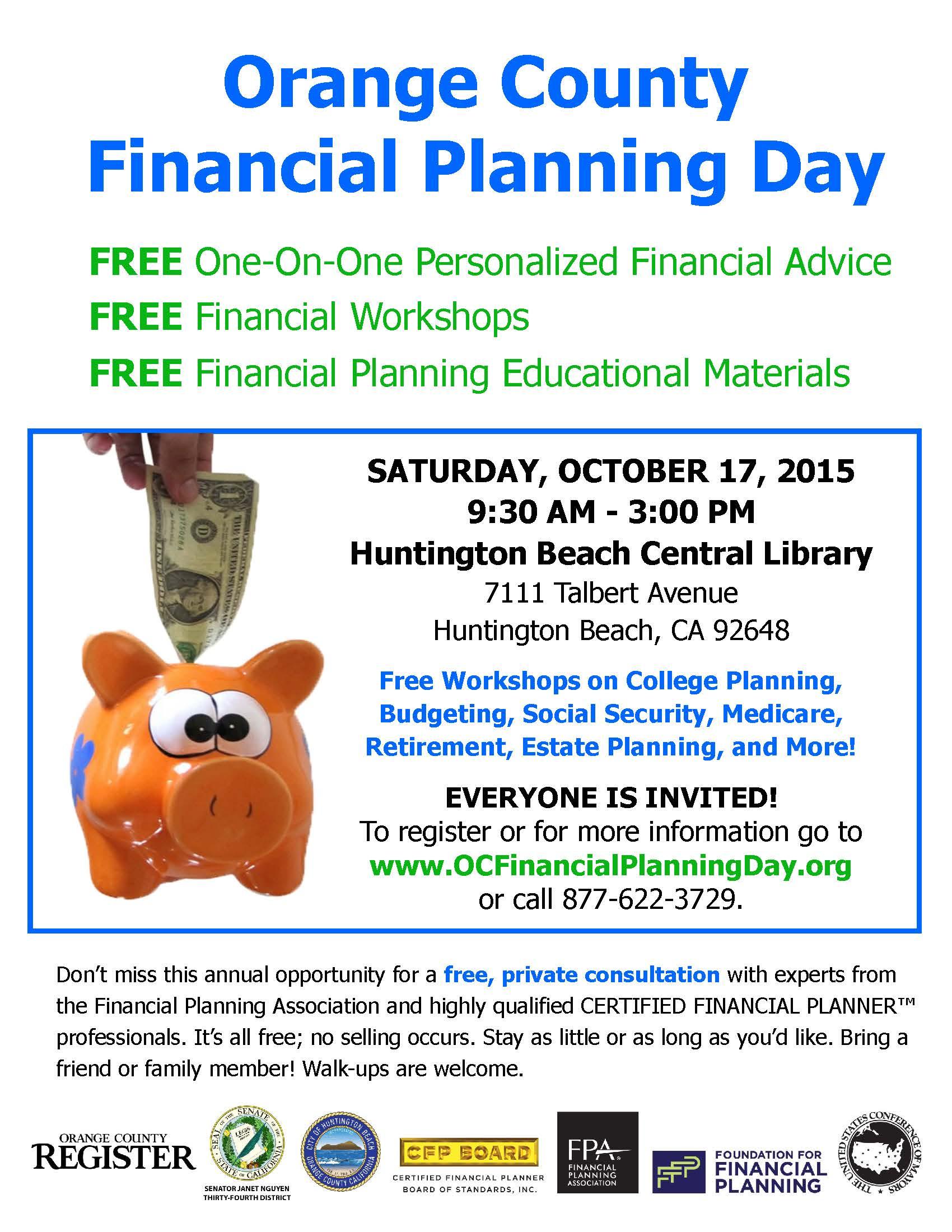 City of Huntington Beach s Free Financial Planning Day on October 17 2015 Orange Coast